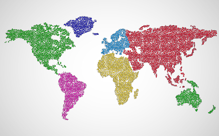 Abstract world map of colorful dots. Vector 矢量图像