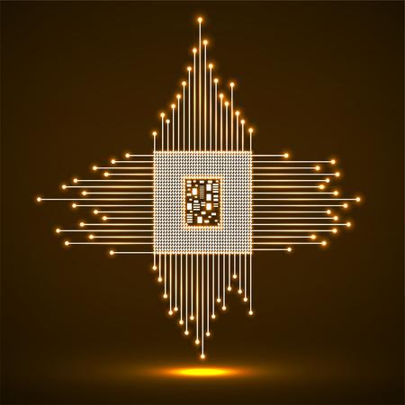 CPU microprocessor. Microchip neon technology symbol vector.