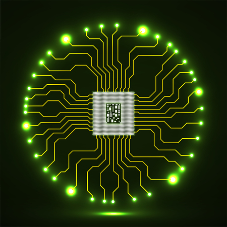 Abstract glowing cpu. Microprocessor. Microchip. Circuit board