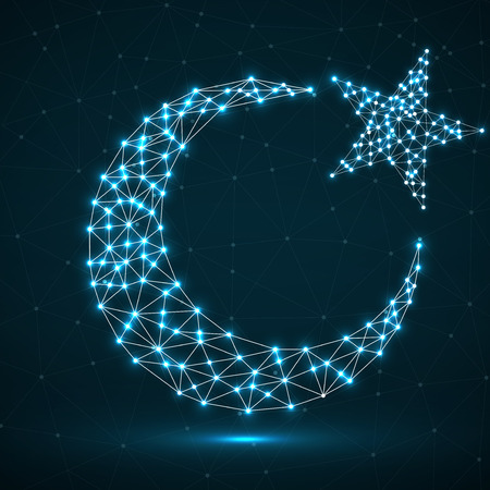 Abstract crescent moon and star of glowing polygonal lines and dots. Islamic religion symbol. Vector