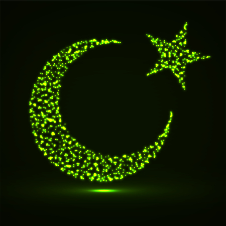 Abstract crescent moon and star of glowing particles. Islamic religion symbol. Vector