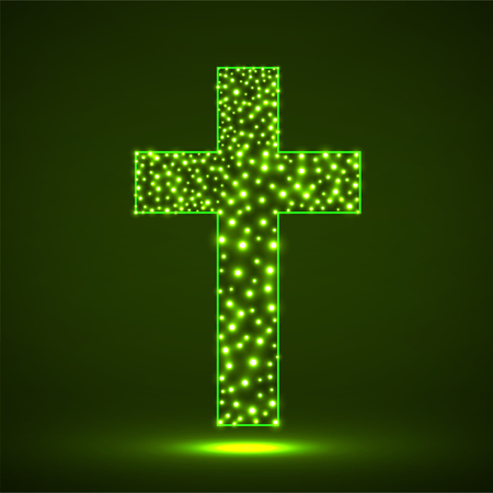 Abstract cross of glowing particles, christian symbol, abstract sign