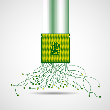 Cpu. Microprocessor. Abstract chaotic lines. Vector