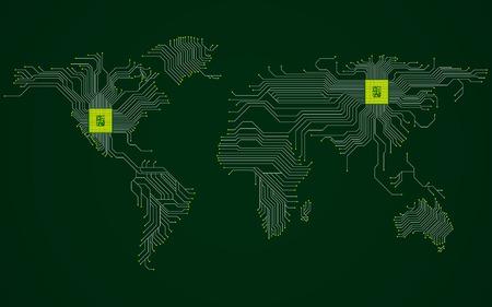 Carte du monde abstrait avec processeur. Circuit imprimé. Contexte technologique