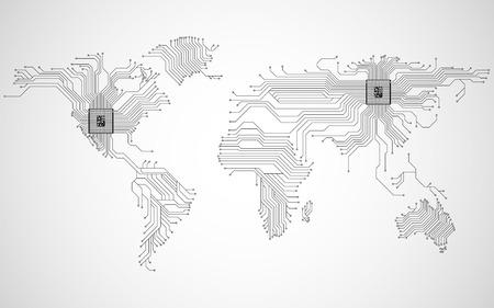Abstrakte Weltkarte mit CPU. Leiterplatte. Technischer Hintergrund