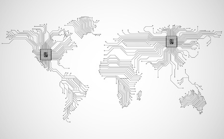 Mappa del mondo astratta con cpu. Scheda di circuito. Sfondo tecnologico