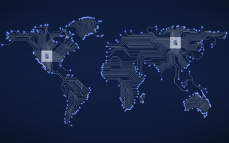 Mapa del mundo abstracto con cpu. Placa de circuito. Fondo de tecnología Ilustración de vector