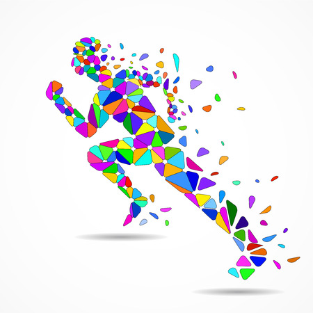 Abstract running man from colorful triangles, polygonal geometric design, vector illustration