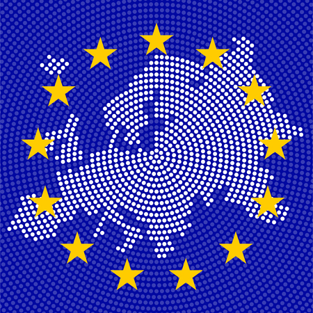 Abstract Europe map of radial dots on background EU flag, halftone concept. Vector illustration, eps 10