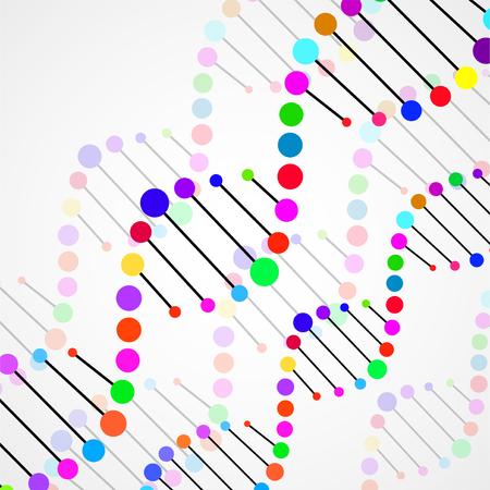 Espiral colorido abstracto de ADN, fondo elegante de la molécula