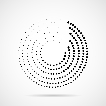 Cercles en pointillés abstraits. Points en forme circulaire. Effet demi-teinte