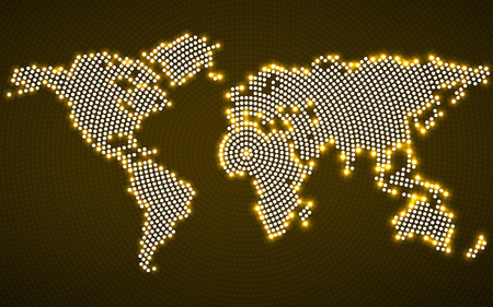 Abstract world map with glowing radial dots. Vector Ilustrace