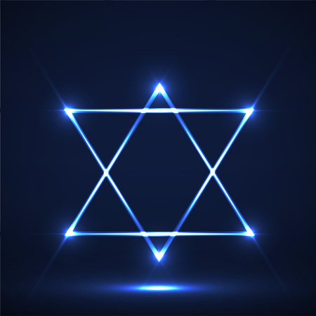 Star of David. Abstract symbol of glowing lines Banque d'images