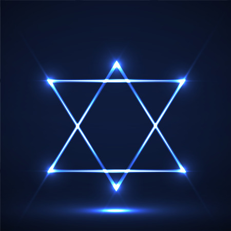 Star of David. Abstract symbol of glowing lines Stock Photo