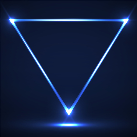 Abstract neon triangle with glowing lines. Vector design element 向量圖像