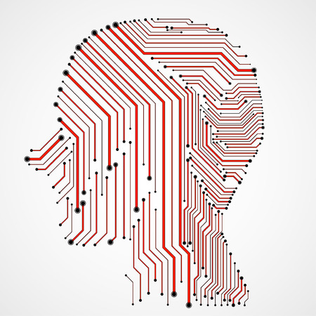Abstract human head with circuit board. Vector