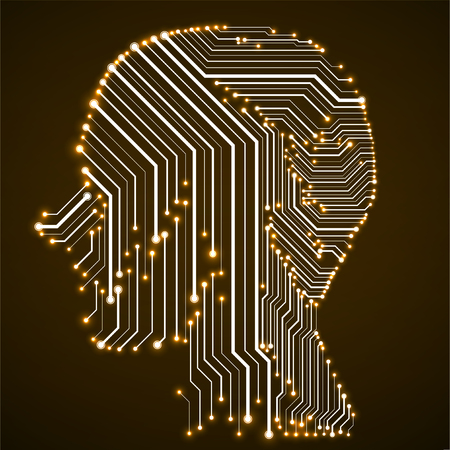 Abstract neon human head with circuit board