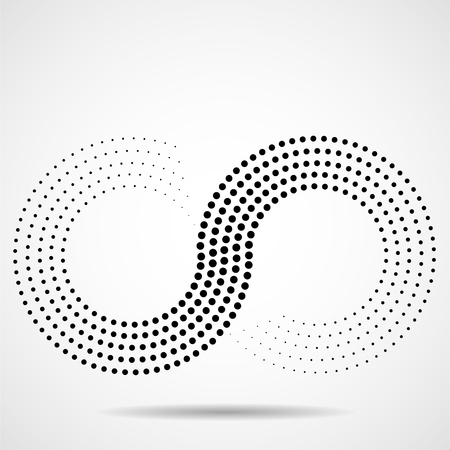 Abstract halftone sign of infinity.