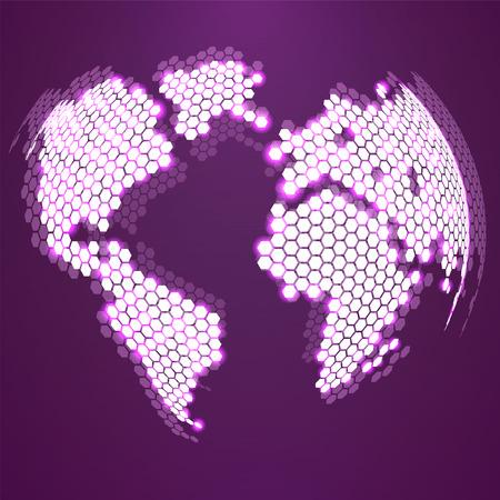 Globe terrestre abstrait d'hexagones. Fond de vecteur