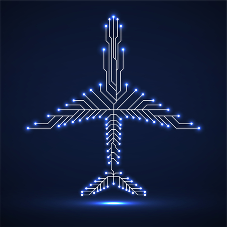 Abstract neon airplane with circuit board