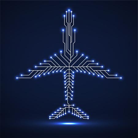 Aeroplano al neon astratto con circuito stampato Vettoriali