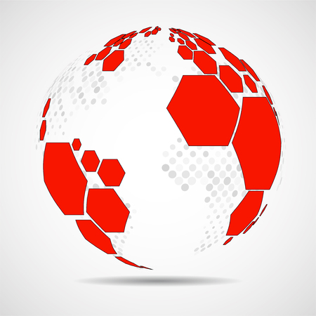 Abstract globe earth of hexagons. Vector background