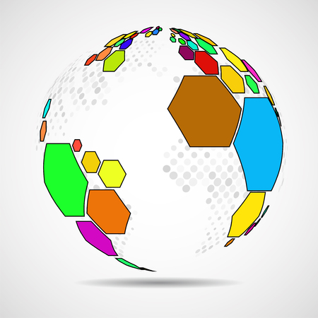 Abstract globe earth of hexagons. Vector background Ilustração
