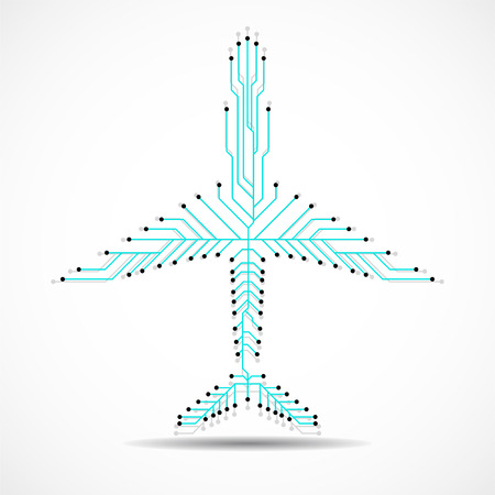 Abstract airplane with circuit board, plane logo. Vector