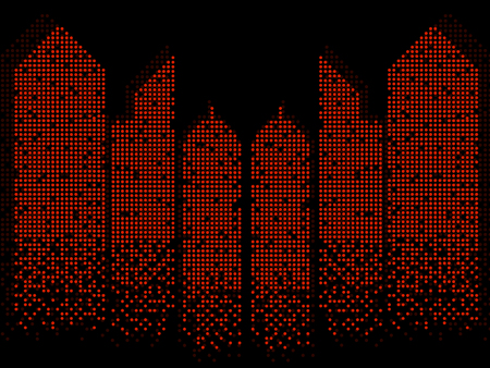 Abstract colorful building of dots. Silhouette of megacity. Vector