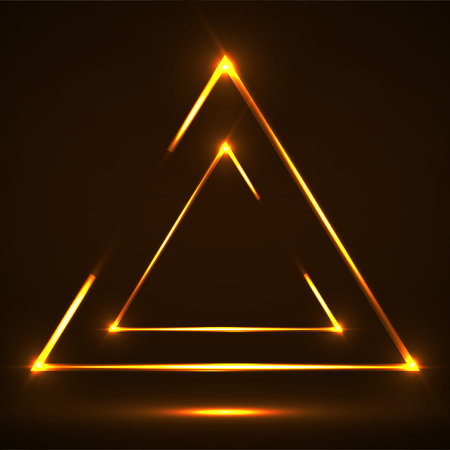 Abstract neon triangle with glowing lines. Illustration