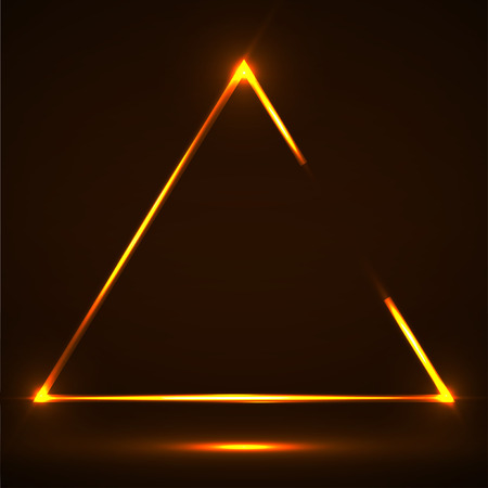 Abstract neon triangle with glowing lines. Ilustração