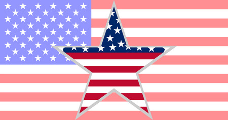 Star in shape flag on background flag of USA