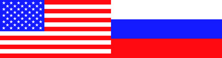 Flags of the USA and Russia. Vector