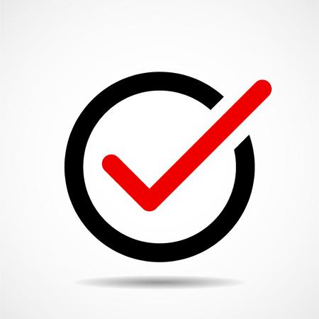 Icono de marca de verificación. Icono de plano. Símbolo. Vector