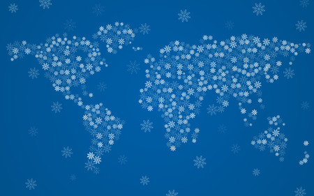 Abstract world map of snowflakes, christmas background 向量圖像