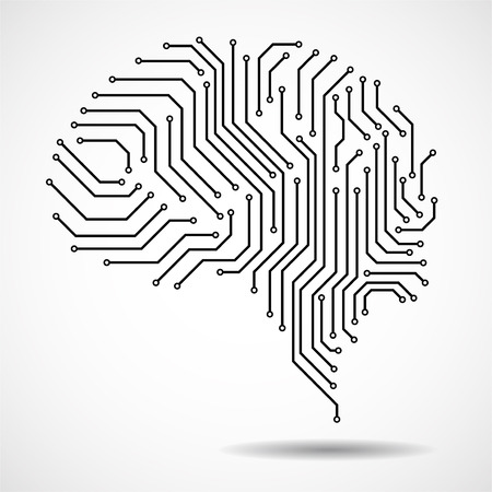 Abstract technological brain. Circuit board. Technological background