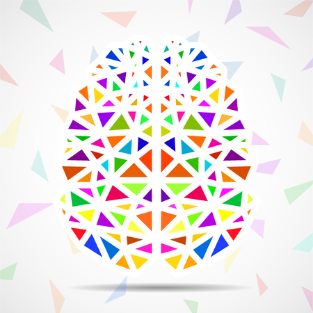 Abstract geometric human brain of colorful triangles