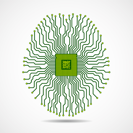 Abstract technological brain. Cpu. Circuit board. Vector Фото со стока - 127213238