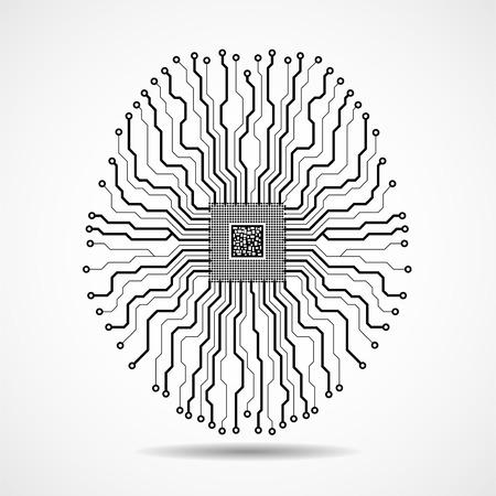 Abstract technological brain. Cpu. Circuit board. Vector Vector Illustration