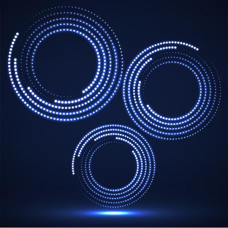 Cerchi astratti al neon punteggiati. Cerchio di semitono di puntini luminosi. Vettore Vettoriali
