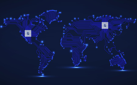 Abstract world map with cpu. Circuit board. Technology background