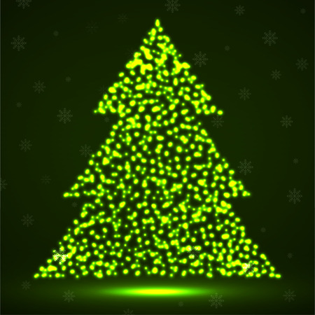 Abstract neon christmas tree of glowing particles. Vector