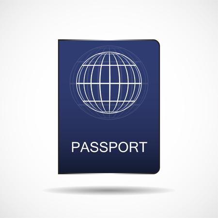 Passport vector icon isolated on white background. Blue passport icon