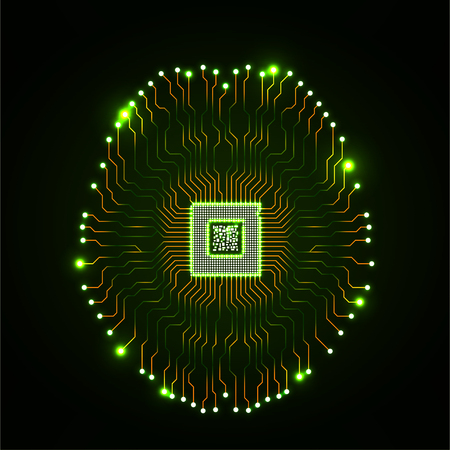 Abstracte technologische neon hersenen. Printplaat. Vector Vector Illustratie