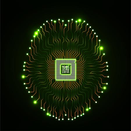 Cerveau néon technologique abstrait. Circuit imprimé. Vecteur Vecteurs