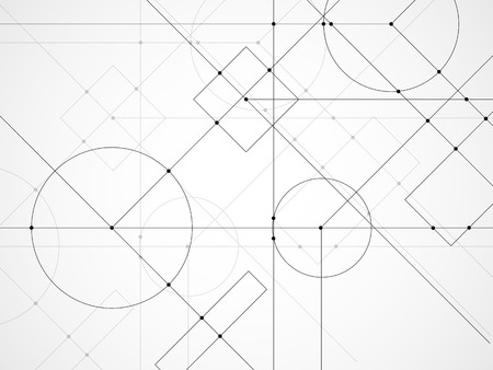 Abstract background of engineering drawing. Technological wallpaper made with circles and lines. Geometric design Ilustração