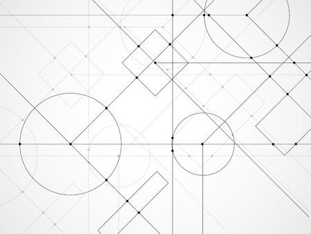 Résumé historique du dessin technique. Papier peint technologique fait de cercles et de lignes. Conception géométrique