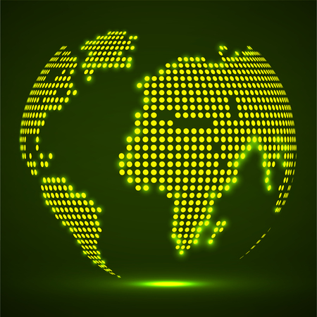 Abstract globe earth of glowing round dots