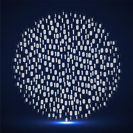 Abstract technology background with binary computer code in circle shape