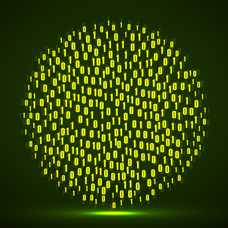 Abstract technology background with binary computer code in circle shape Illustration